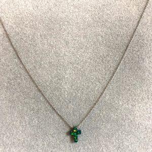 Collier argenté pendentif croix pailletée