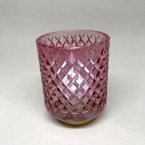 Photophore verre rose